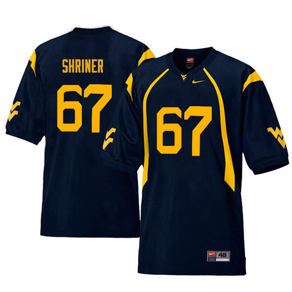 Men #67 Alec Shriner West Virginia Mountaineers Retro College Football Jerseys Sale-Navy